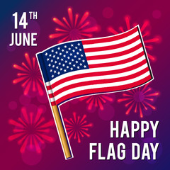 Flag Day. Vector illustration for holiday. 14 June.