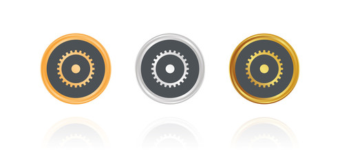 Zahnrad - Option - Bronze, Silber, Gold Buttons
