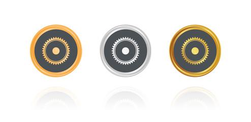 Einstellungen - Zahnrad - Bronze, Silber, Gold Buttons