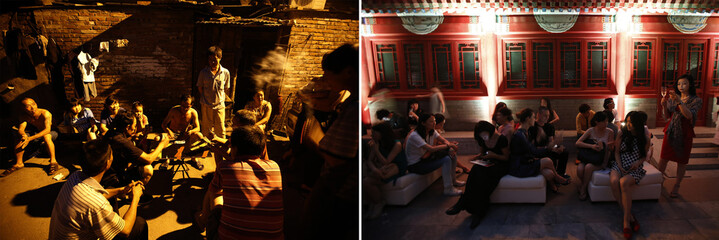 A combination photograph shows residents gambling under streetlights in a alley at a residential area for migrant workers and guests drinking Champagne as they wait for the start of fashion show at a reception prior to a fashion show