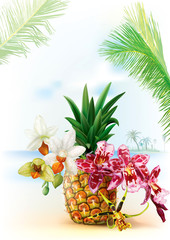 Pinapple with orchid flowers