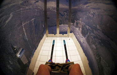 """The walls of a toilet are decorated with a mountain panorama wallpaper and skis on the floor at the """"Red Fox"""" restaurant in the winter sport resort of Rosa Khutor, a venue for the Sochi 2014 Winter Olympics near Sochi"""