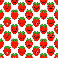 Seamless background with Strawberries emotions. Vector illustration.