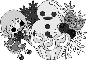 The cute illustration of autumn and winter -The snowman cake-