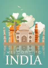 India. Goa. Vector illustration. Indian colorful template. Tropical resort. Vacations in India. Asia set