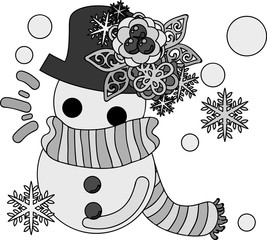 The cute illustration of autumn and winter -Pretty snowman-