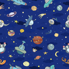 Cartoon hand drawn space, planets seamless pattern. Lots of symbols, objects and elements. Printable templates