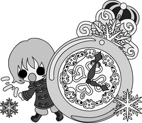 The cute illustration of winter and girls -Snow clock-
