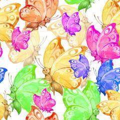 Seamless cartoon background with cute garden butterflies