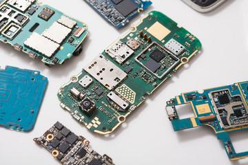 Digital gadgets components, repair shop concept