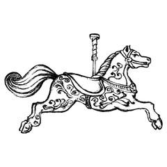 Vintage print merry go round horse