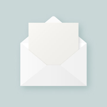 Clean white realistic open envelope with blank empty paper sheet vector mockup. Abstract open letter envelope template.