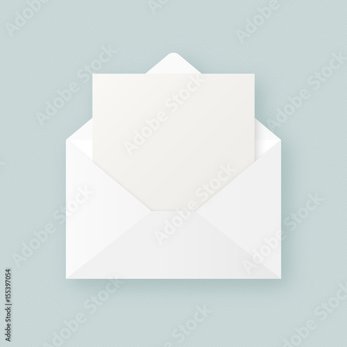 Clean White Realistic Open Envelope With Blank Empty Paper Sheet