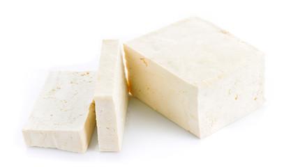 Closeup tofu and mint on white background