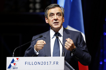French politician Francois Fillon, member of the conservative Les Republicains political party and candidate for their presidential primary, attends a rally as he launches his official campaign in Paris