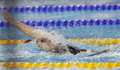 Castel of France swims during the women's final 200m backstroke at the 10th FINA World Swimming Championships (25m) in Dubai