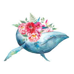 Whale with flowers artwork. Watercolor composition with blue whale and anemones, roses, fern, peonies bouquet. Hand painted animal silhouette isolated on white background.