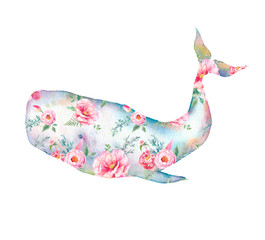 Whale with flowers artwork. Watercolor print with cachalot whale and tulip, roses, peonies bouquet pattern. Hand painted animal silhouette isolated on white background. Creative natural illustration