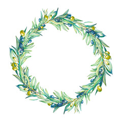 Watercolor olive tree branches wreath. Hand painted round floral frame isolated on white background. Summer botanical illustration for logo, label, banner or card