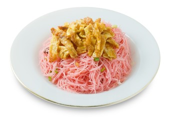 Dish of Red Fried Rice Noodle with Eggs and Scallion