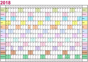 Jahresplaner 2018 linear mit gesetzlichen Feiertagen für Deutschland und Monate in unterschiedlichen bunten Farben