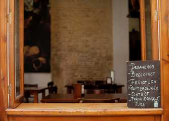 A blackboard offering breakfasts is displayed at a bar in Seville, southern Spain