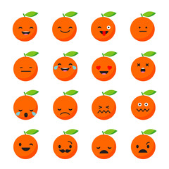 Emotions Orange. Vector style smile icons.