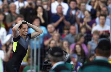 France's Renaud Lavillenie reacts during the men's pole vault event at the IAAF World Challenge Golden Spike international track and field meeting in Ostrava