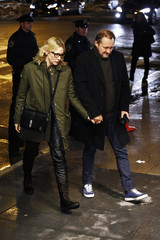 Actress Blanchett and her husband Upton arrive for the wake of deceased actor Hoffman, in Manhattan