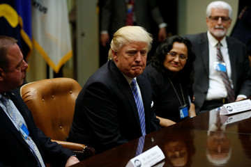 Trump holds a roundtable meeting with labor leaders at the White House in Washington