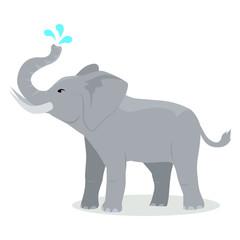 Elephant Cartoon Icon in Flat Design