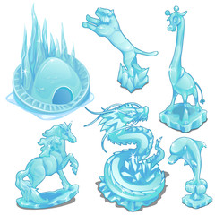 Set of ice figurines of wild and fantastic animals