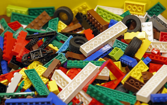 Pieces of Lego bricks are seen in a shop in Paris