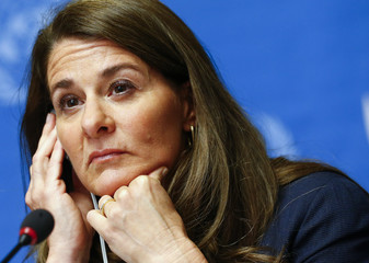 Gates, Co-chair of the Bill & Melinda Gates Foundation, listens to a question during a news conference before her address to the 67th World Health Assembly in Geneva