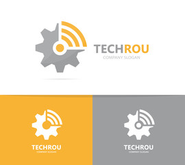 Vector of gear and wifi logo combination. Mechanic and signal symbol or icon. Unique industrial and radio, internet logotype design template.