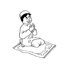 Cute little boy praying