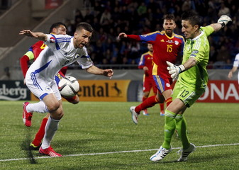 Bosnia and Herzegovina's Ibisevic fights for the ball against Andorra's goalkeeper Pol during their Euro 2016 qualifier match in Andorra La Vella