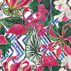 Watercolor painting seamless pattern with exotic lily, orchid flowers and palm leaves. Tropical summer background with flamingo birds