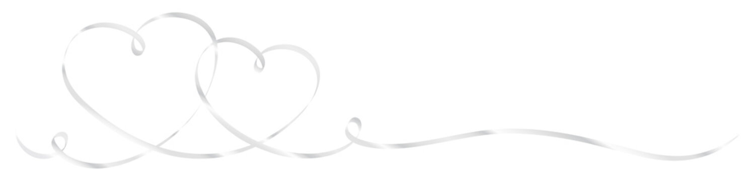 2 Connected Silver Calligraphy Hearts Ribbon Banner