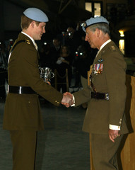 Britain's Prince Harry shakes hands with his father, Prince Charles, after Charles awarded him with his wings at the Army Aviation Centre at Middle Wallop