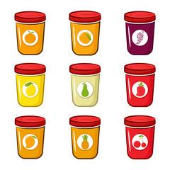 Set of jam with pear, lemon, peach, orange, pineapple, grapes, strawberry cherry and mango Cartoon style