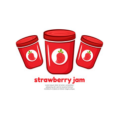 Template logo for strawberry jam. Bank of delicious jam