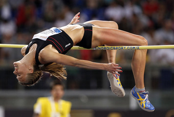 Green Tregaro of Sweden competes in the women's high jump event during the Golden Gala IAAF Diamond League at the Olympic stadium in Rome