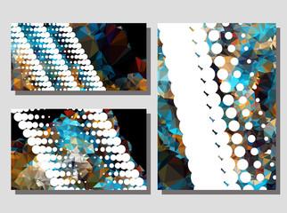 Low poly mosaic background set. Copy space. Vector clip art.