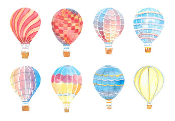 Watercolor hand drawn illustration set of Multicolored balloons isolated on white
