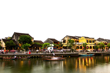 Hoi An old town a beautiful after sunset in vietnam