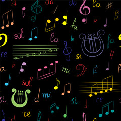 Seamless Pattern of Hand Drawn Set of  Music Symbols. Colorful Doodle Treble Clef, Bass Clef, Notes and Lyre on Black. Sketch Style. Vector Illustration.