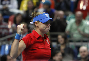 Russia's Zvonareva celebrates her victory over Italy's Vinci during their Fed Cup World Group tennis match in Moscow