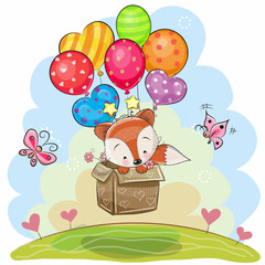 Cute Cartoon Fox with balloons