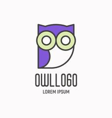 Logo with cartoon wise owl, design element for school, business, pet shop. Vector illustration.